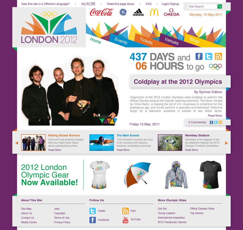 London Olympic website homepage